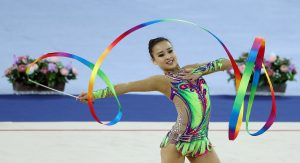 Incheon Asian Games 2014    Gymnastics Rhythmic   Korea Son Yeonjae  Son Yeonjae of South Korea performs during the gymnastics rhythmic individual final at the 17th Asian Games in Incheon, October, 1.   October 2, 2014  Namdong Gymnasium, Incheon-si   Ministry of Culture, Sports and Tourism Korean Culture and Information Service Korea.net (www.korea.net) Official Photographer : Jeon Han  This official Republic of Korea photograph is being made available only for publication by news organizations and/or for personal printing by the subject(s) of the photograph. The photograph may not be manipulated in any way. Also, it may not be used in any type of commercial, advertisement, product or promotion that in any way suggests approval or endorsement from the government of the Republic of Korea. If you require a photograph without a watermark, please contact us via Flickr e-mail.  ---------------------------------------------------------------  2014 인천 아시아경기대회   리듬체조   손연재가 2일 인천시 남동체육관에서 열린 '2014 인천 아시아경기대회' 리듬체조 개인전 결승에서 리본 연기를 펼치고 있다.    2014-10-02  남동체육관, 인천시  문화체육관광부 해외문화홍보원 코리아넷  전한